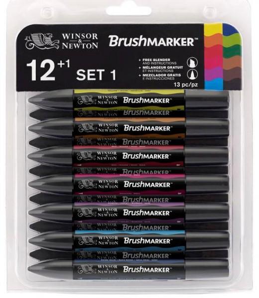 BrushMarker Set set 1: 12 Farben + blender (Vibrant)