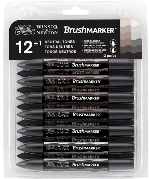 BrushMarker Set 12 Neutral Tones (Grau)